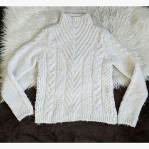 Zara white mock neck chunky cable knit
